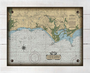Madison & Clinton CT Nautical Chart On 100% Natural Linen