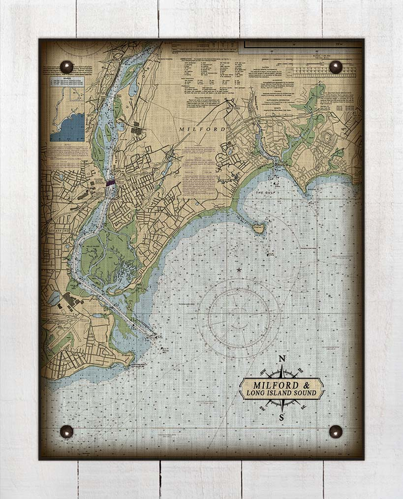 Milford CT Nautical Chart On 100% Natural Linen