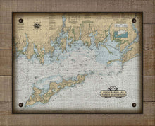 Load image into Gallery viewer, Mystic Harbor & Fishers Island Nautical Chart -  On 100% Natural Linen