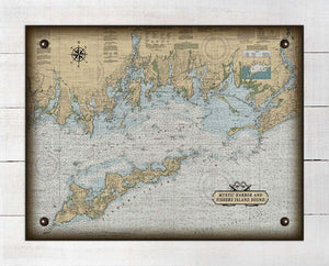 Mystic Harbor & Fishers Island Nautical Chart -  On 100% Natural Linen