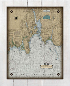 Niantic  CT  Nautical Chart -  On 100% Natural Linen