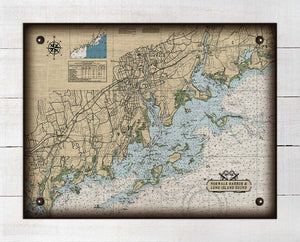 Norwalk  CT  Nautical Chart -  On 100% Natural Linen