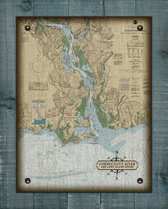 Old Saybrook, Old Lyme & Essex  CT  Nautical Chart -  On 100% Natural Linen