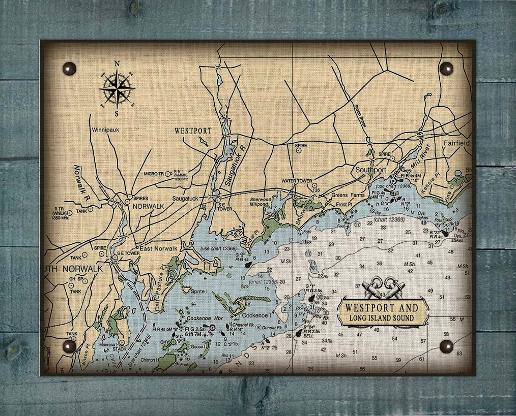 Westport  CT  Nautical Chart -  On 100% Natural Linen