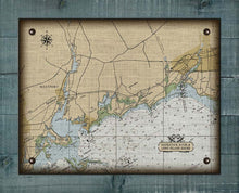 Load image into Gallery viewer, Westport & Southport CT  Nautical Chart -  On 100% Natural Linen