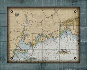 Westport & Southport CT  Nautical Chart -  On 100% Natural Linen