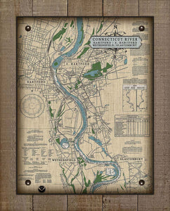Ct. River (Hartford, E.Hartford, Wethersfield & Glastonbury) Nautical Chart -  On 100% Natural Linen