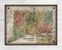 Load image into Gallery viewer, 1800s Connecticut Map - On 100% Natural Linen