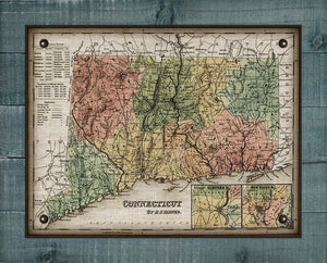 1800s Connecticut Map - On 100% Natural Linen
