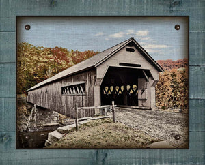 Covered Bridge - On 100% Natural Linen