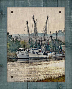 Shrimp Boats Vertical 1  - On 100% Natural Linen