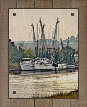 Load image into Gallery viewer, Shrimp Boats Vertical 1  - On 100% Natural Linen