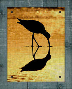 Shore Bird At Dawn (Dowitcher) - On 100% Natural Linen