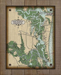 East Nassau County Florida Nautical Map  On 100% Natural Linen