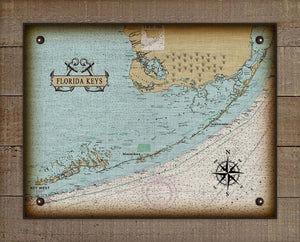 Florida Keys Nautical Chart On 100% Natural Linen