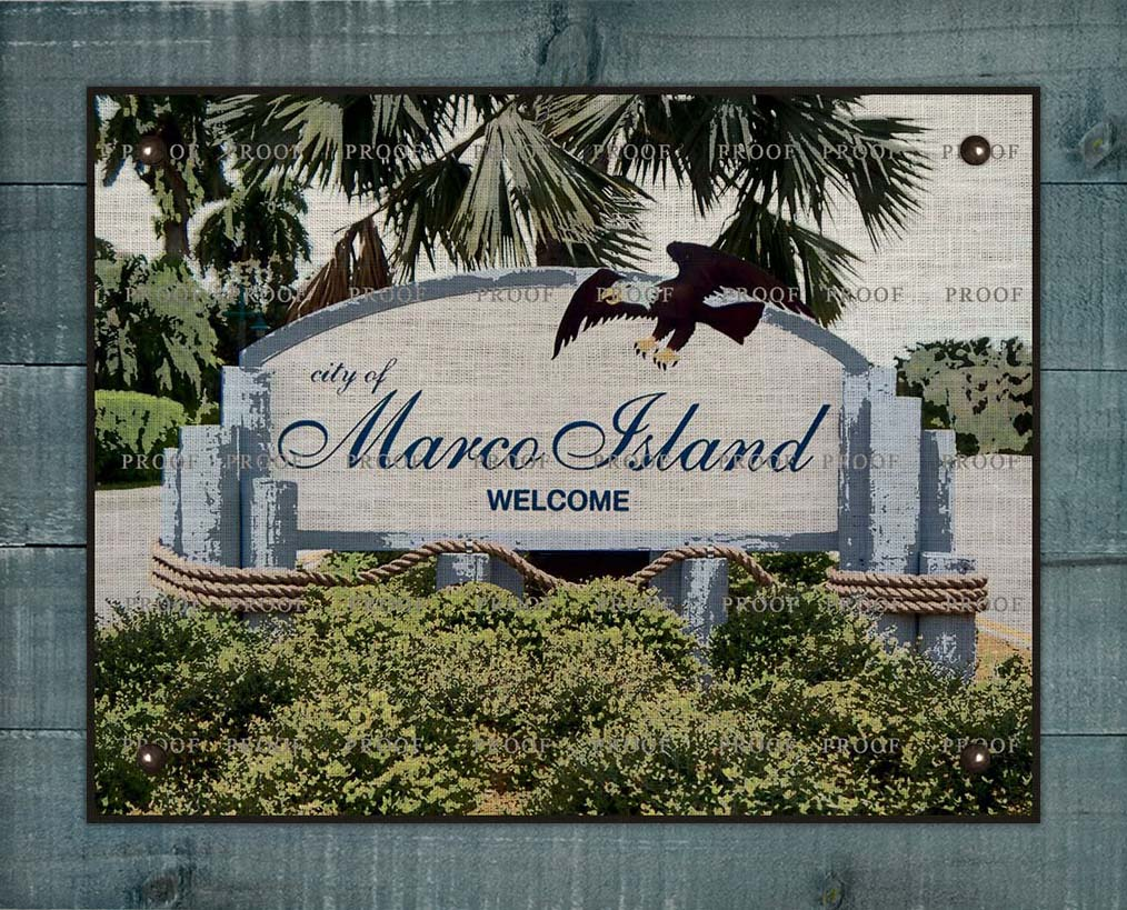 Marco Island Welcome Sign (2) On 100% Linen