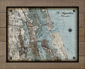Vintage St Augustine Map (Horizontal) On 100% Natural Linen
