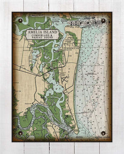 Amelia Island Nautical Chart - On 100% Natural Linen