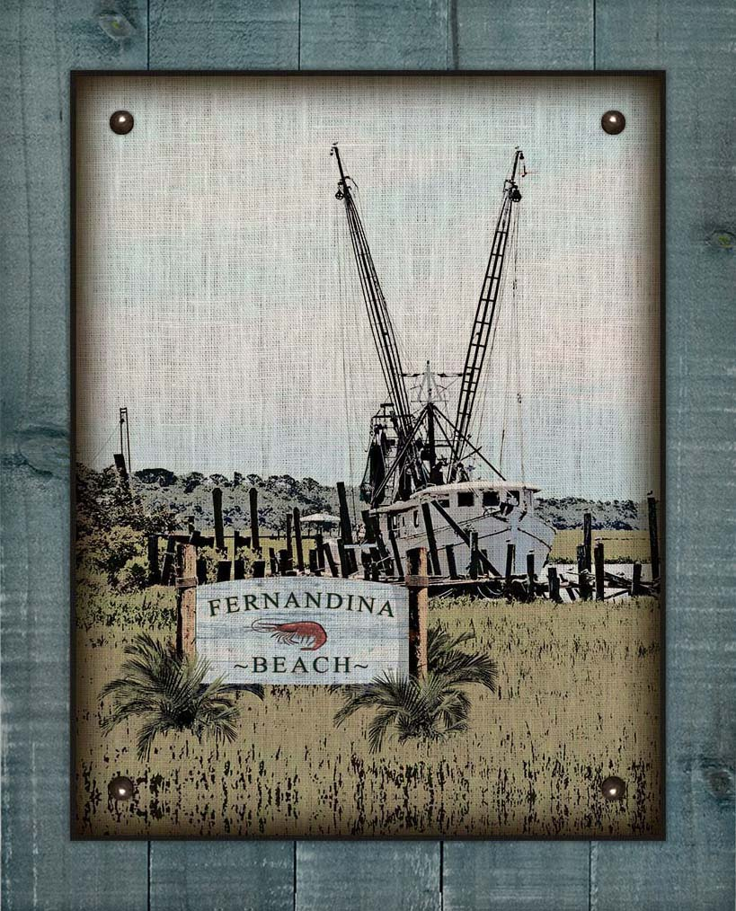 Fernandina Beach Shrimp Boat On 100% Linen