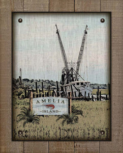 Amelia Island Shrimp Boat On 100% Linen