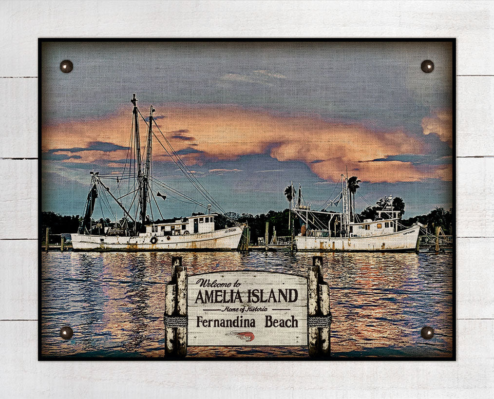 Amelia Island / Fernandina Beach Shrimp Boats - On 100% Linen