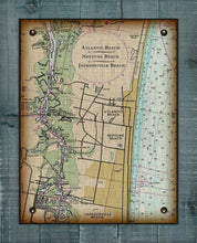 Load image into Gallery viewer, Atlantic, Neptune and Jacksonville Beach Nautical Chart On 100% Natural Linen