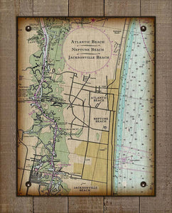 Atlantic, Neptune and Jacksonville Beach Nautical Chart On 100% Natural Linen