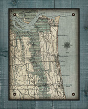 Load image into Gallery viewer, Atlantic, Neptune and Jacksonville Beach Vintage Map On 100% Natural Linen