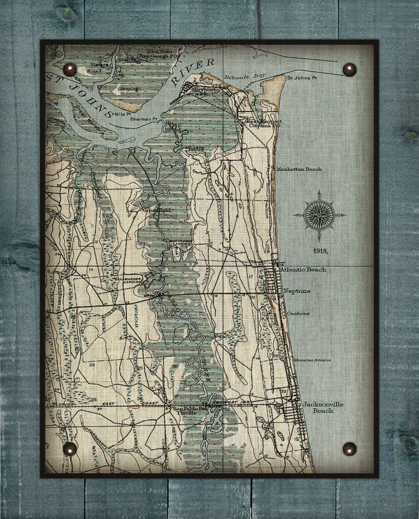 Atlantic, Neptune and Jacksonville Beach Vintage Map On 100% Natural Linen