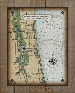 Atlantic, Neptune, Jacksonville and Ponte Vedra Nautical Chart  On 100% Natural Linen