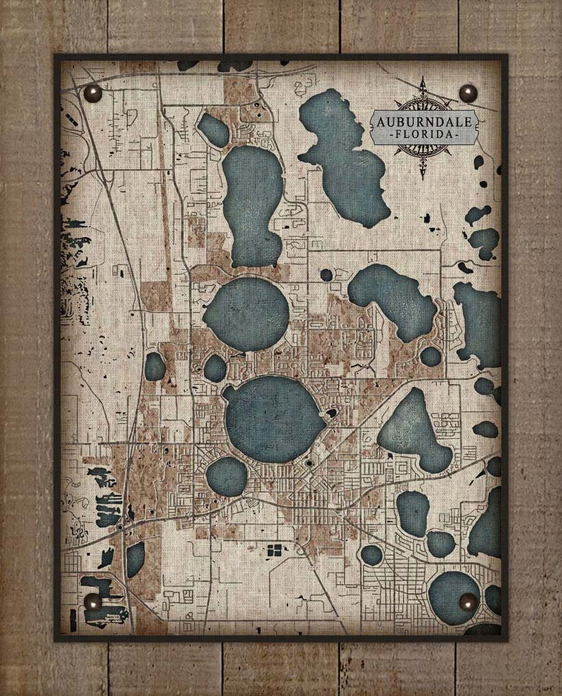 Aubendale Map On 100% Natural Linen