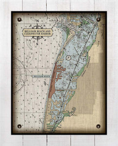 Belleair Nautical Chart On 100% Natural Linen