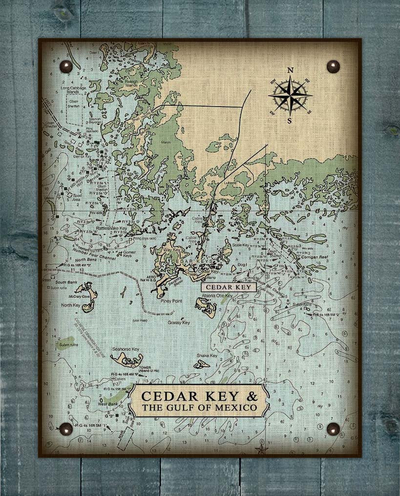 Cedar Key Nautical Chart On 100% Natural Linen