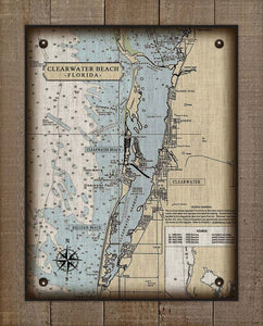 Clearwater Florida Nautical Chart On 100% Natural Linen