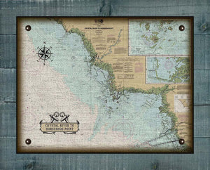 Crystal River To Horshoe Point Nautical Chart On 100% Natural Linen