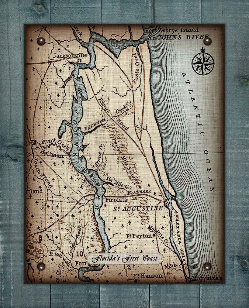 First Coast Florida Vintage Map-Amelia Island To St Augustine- On 100% Natural Linen