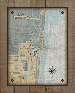 Fort Lauderdale Nautical Chart On 100% Natural Linen