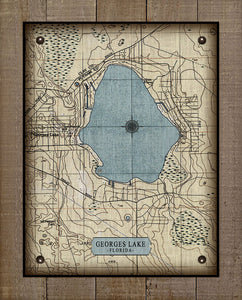 Georges Lake Map - On 100% Natural Linen