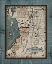 Load image into Gallery viewer, Hillsborough Bay Eastern Shore Map - Apollo Beach to Palm River Clair Mel - Map On 100% Linen