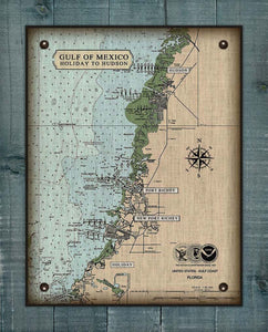 Holiday, Port Richy, New Port Richy and Hudson Nautical Chart On 100% Natural Linen