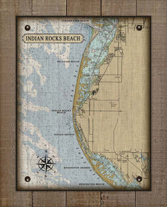 Indian Rocks Beach Nautical Chart On 100% Natural Linen