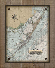 Load image into Gallery viewer, Key Largo Nautical Chart On 100% Natural Linen