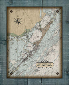Key Largo Nautical Chart On 100% Natural Linen