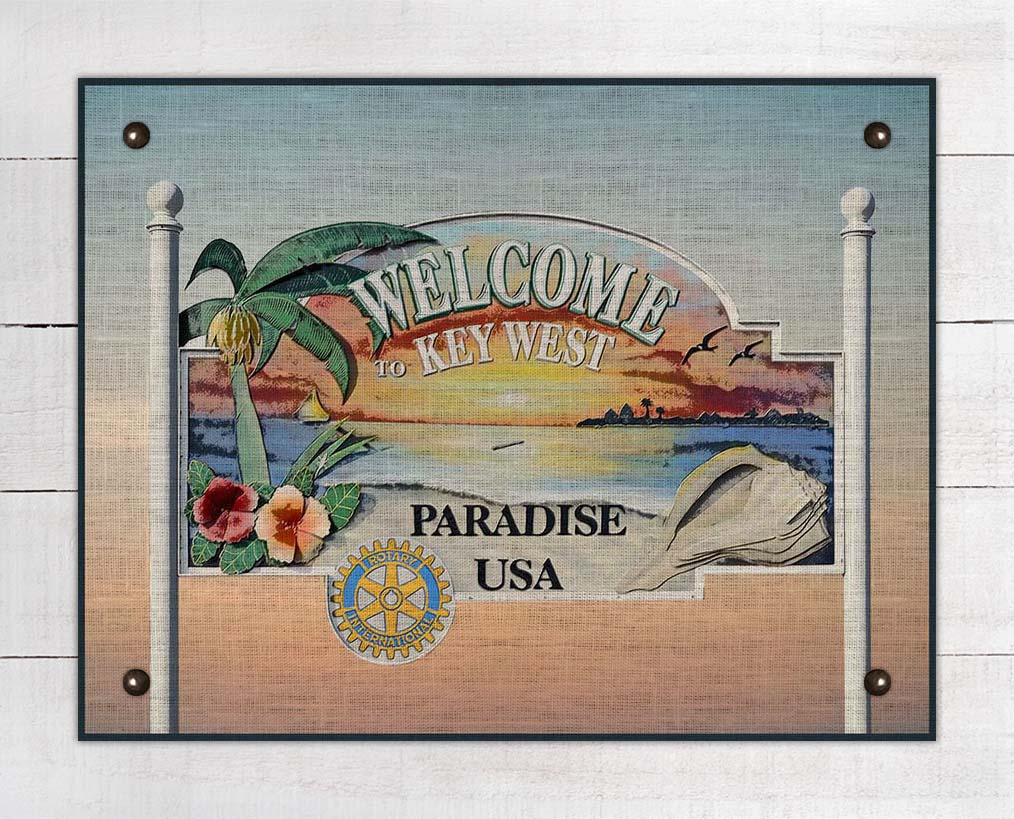 Key West Welcome Sign On 100% Linen