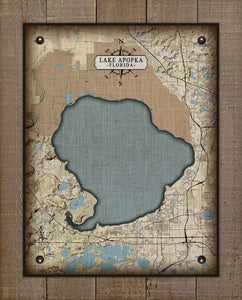 Lake Apopka Map On 100% Linen