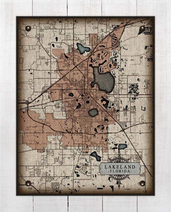 Plant City Florida Map On 100% Natural Linen