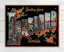 Load image into Gallery viewer, Lakeland Florida Vintage Post Card On 100% Linen