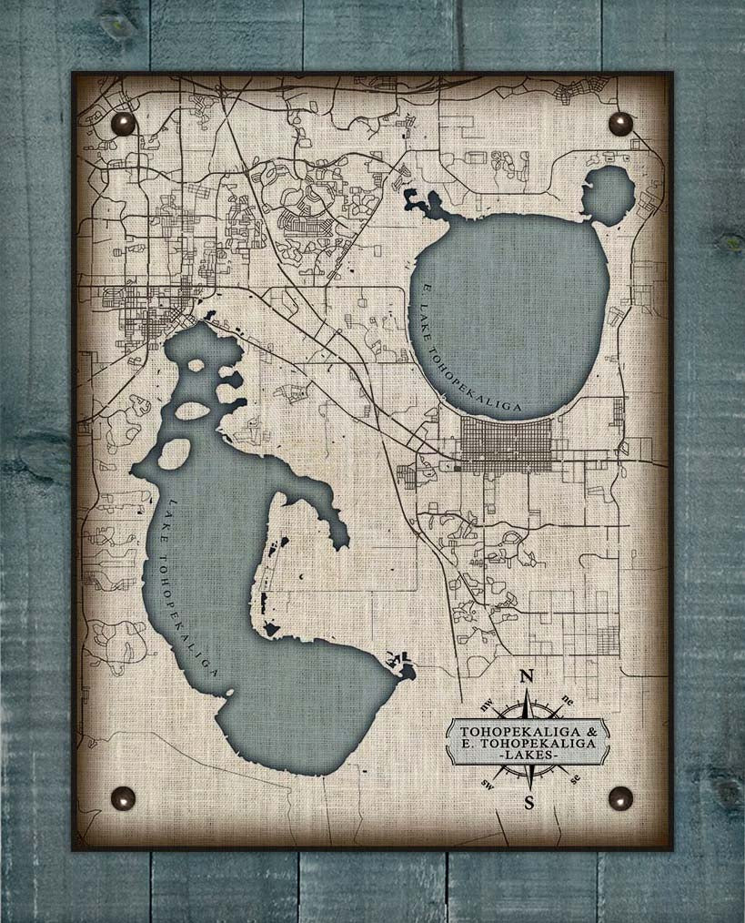 Lake Tohopekaliga Map On 100% Linen