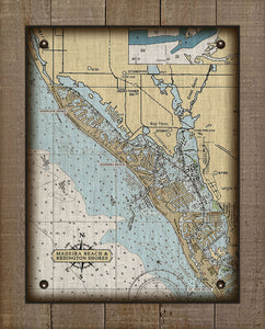 Madeira Beach And Reddington Shores Nautical Chart On 100% Linen