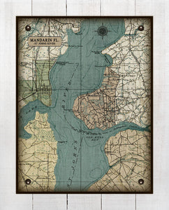 Florida  St Johns River -Mandarin-Vintage Map On 100% Natural Linen
